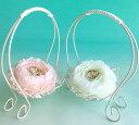 サーバーバスケットのリングピロー【S】2個セットフラワーリングクッション ピンク&ホワイト(完成品)【ラナンキュラス ウェディング 結婚式 ワイヤー】