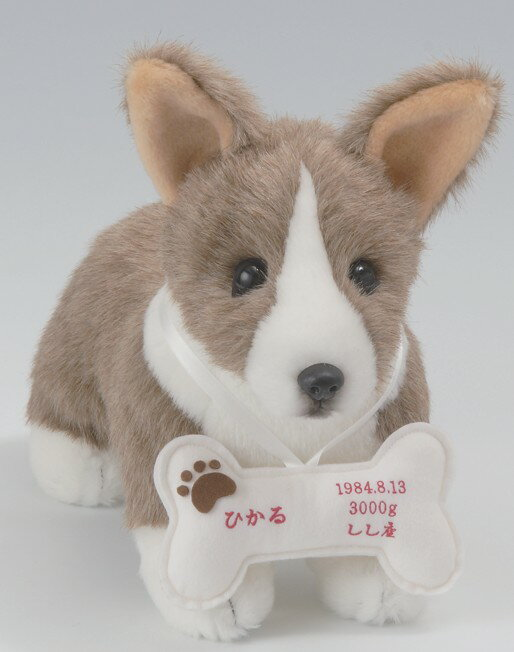 オリジナルドッグ&キャット・コーギー(1体)フルオーダーおしゃぶりボーンに刺繍入り【犬 ウェルカムドッグ・ウェイトドール】