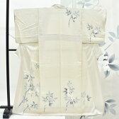 訪問着 中古 リサイクル 正絹 仕立て上がり ほうもんぎ 植物文様 刺繍 裄63.5cm 白系 裄Mサイズ 身丈Mサイズ ii1567c