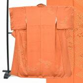 訪問着 中古 リサイクル 正絹 仕立て上がり ほうもんぎ 菱文様 刺繍 草花文様 裄67cm オレンジ系 裄Lサイズ 身丈Sサイズ ii0700c