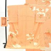 訪問着 中古 リサイクル 正絹 仕立て上がり ほうもんぎ 雲文様 草花文様 落款付 裄66.5cm オレンジ系 裄Lサイズ 身丈Lサイズ ii2104c
