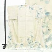 訪問着 中古 リサイクル 正絹 仕立て上がり ほうもんぎ 草花文様 裄64cm 白系 裄Mサイズ 身丈Lサイズ ii2122c