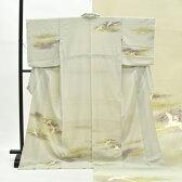 訪問着 中古 リサイクル 正絹 仕立て上がり ほうもんぎ 尾長鳥文様 裄63cm グレー系 裄Sサイズ 身丈Lサイズ ii2548c