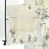 訪問着 中古 リサイクル 正絹 仕立て上がり ほうもんぎ 竹文様 裄66cm 白系 裄Mサイズ 身丈Mサイズ ii2551c