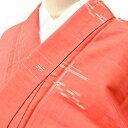 リサイクル 十日町紬 中古 正絹 つむぎ 絣文様 裄67cm ピンク系 裄Lサイズ 身丈Lサイズ ii4090c