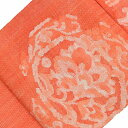 リサイクル 名古屋帯 中古 正絹 八寸 なごやおび 紬地 花文様 オレンジ系 jj2169b