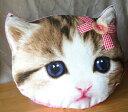 子猫フェイスクッション(リボン) ねこ ネコ