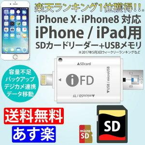 i-FlashDevice iPhone / iPad 用 SDカードリーダー ライトニング 【 送料無料 】micro USB/USB3.0 Micro SD / TF / SD マルチ カードリーダー SDカード メモリーカード コンパクトフラッシュ メモリースティック カードリーダー For iOS & Android OTG&PC