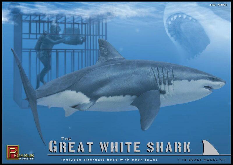 ペガサスホビー 1/18 海の最強ハンター ホホジロザメ w/ダイバー+ケージ...:hobbycollective:10016745