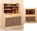 Extreme popularity! A wooden playing house kitchen [German fir tree (fir tree), beech] [COOK TIME:] Toy of the handmade  walnut natural white  playing house kitchen Christmas tree of the Cook thyme  modern color curtain high type (three colors available) woodwork craftsman
