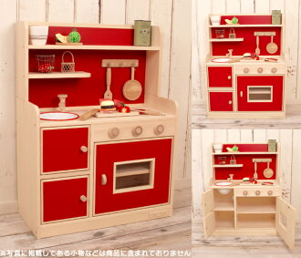 Very popular! Wooden house kitchen popular color デラックスハイ type (your two-color) wood craftsman handmade ☆ wood toy play house kitchen Christmas