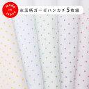 ベビー2重ガーゼハンカチ水玉柄5色セット(35cm×35cm)日本製