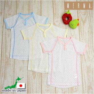 訂閱處理實心縫製的PRF圓點一個按鈕短袖襯衫,在日本 (孩子嬰兒內衣嬰兒新生兒內衣睡衣短袖連褲短袖嬰兒衣服孩子衣服和內衣)