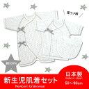 【ラメ星柄】新生児3点セット50-60cm(短肌着・コンビ肌...