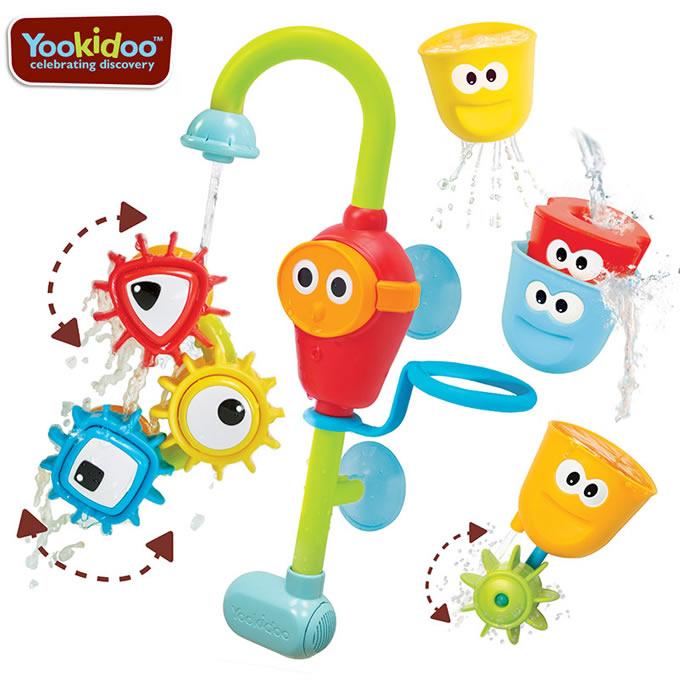 ユーキッド(yookidoo)お風呂シャワーくるくる歯車 お風呂おもちゃで図形のお勉強(キッズベビー