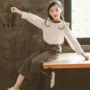 韓国子供服 2点セット 春秋 カジュアル ナチュラル トップス+ワイドパンツ 長袖 長ズボン セットアップ ゆったり リゾート 女の子 キッズ 通学着 通園着 普段着 110-160cm