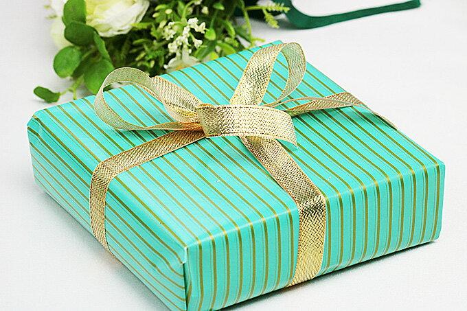 【ラッピング】包装紙グリーン/リボン・ゴールド ...の商品画像