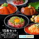 【海鮮丼 15食 セット】(マグロ漬け3p・ネギトロ3P+サーモンネギトロ3p+トロサーモン3p+イ