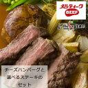 【お試し!送料込】チーズハンバーグPremiumと【サーロインかヒレを選べる】ステーキのセット