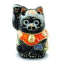 九谷焼招き猫(右手金運招き猫)2号黒盛 [ちび招き猫 豆招き猫]