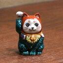 九谷焼招き猫(右手金運招き猫)2号唐草文 [ちび招き猫 豆招き猫]
