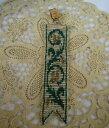 腕時計 ビクトリアマイクログラスビーズグリーンクリアフローラルデザインウォッチフォブvictorian microglass woven beaded green clear floral design watch fob