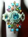 【送料無料】ジュエリー・アクセサリー ミハルネグリンスワロフスキーフローラルクリスタルリングパターンmichal negrin in swarovski cristallo floreale motivo anello