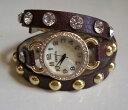 腕時計 ウォッチブラウンブリングファッションゴールドbrowngold wrap around bling sparkly rhinestones fashion womensgirls watch