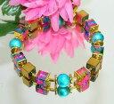 【送料無料】ブレスレット bracciale da sogno con cubo pink rosa oro vetro perla circa turchese ematite oro 400g
