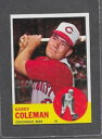 【送料無料】スポーツ メモリアル カード #1963 topps baseball 90 gordy coleman exmt *090d