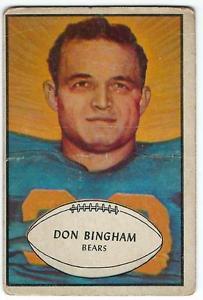 【送料無料】スポーツ メモリアル カード サッカー#ドンビンガムシカゴベアーズ1953 bowman football 59 don bingham chicago bears
