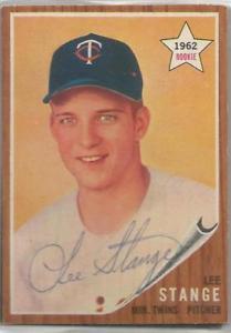 【送料無料】スポーツ メモリアル カード ミネソタツインズlee stange1962トップスサインminnesota twins lee stange autographed 1962 topps
