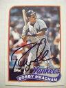 【送料無料】スポーツ メモリアル カード ヤンキースカードサイン listingbobby meacham signed yankees 1989 topps baseball card autographed 436 auto padre
