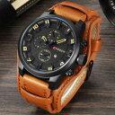 手表 - 【送料無料】curren men military sport quartz watches mens luxury leather male wristwatch rel