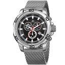 【送料無料】mens joshua amp; sons jx123ssbk chronograph date complication mesh bracelet watch