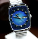 【送料無料】vintage russian ussr quartz resonator blue mens big watch chayka chaika 3050