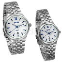 【送料無料】couples mens womens roman numberals date precious quartz stainless wrist watch