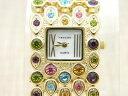 【送料無料】vernier quartz multicolor rhinestone gold tone watch