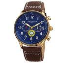 【送料無料】mens akribos xxiv ak751br swiss multifunction tachymeter brown leather watch