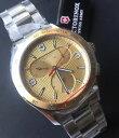【送料無料】victorinox swiss army mens gold tone classic chronograph tachymeter watch 241658