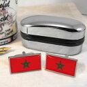 ショッピングモロッコ 【送料無料】メンズアクセサリ— モロッコカフスボタンボックスmoroccan flag cufflinks amp; box