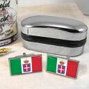 ショッピングKINGDOM 【送料無料】メンズアクセサリ— イタリアカフスボタンイギリスボックスkingdom of italy flag cufflinks amp; box