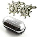 ショッピングsailing 【送料無料】メンズアクセサリ— ホイールカフスボタンボックスnautical sailing ships wheel cufflinks amp; engraved gift box
