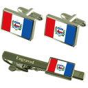 ショッピングカフス 【送料無料】メンズアクセサリ— アラゴアスフラグカフスボタンタイクリップマッチングボックスalagoas flag cufflinks engraved tie clip matching box set
