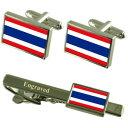 ショッピングクリップ 【送料無料】メンズアクセサリ— タイカフスボタンタイクリップマッチングボックスthailand flag cufflinks engraved tie clip matching box set