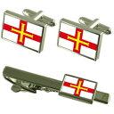 ショッピングBOX 【送料無料】メンズアクセサリ— ガーンジーカフスボタンタイクリップマッチングボックスセットguernsey flag cufflinks tie clip matching box gift set