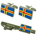 【送料無料】メンズアクセサリ- ランドカフスボタンタイクリップマッチングボックス?land islands flag cufflinks engraved tie clip matching box set