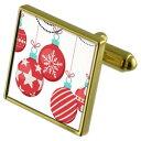 ショッピングクリスマスツリー 【送料無料】メンズアクセサリ— クリスマスツリーカフスボタンクリスタルタイクリップセットchristmas tree bauble goldtone cufflinks crystal tie clip gift set