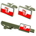 【送料無料】メンズアクセサリ— チェコカフスボタンタイクリップボックスセットopava city czech republic flag cufflinks tie clip box gift set