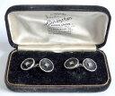 【送料無料】メンズアクセサリ- ヴィンテージシルバーボックスセットオニキスストーンカフリンクスa vintage 1920s boxed set of unmarked silver amp; onyx cufflinks with cz stone
